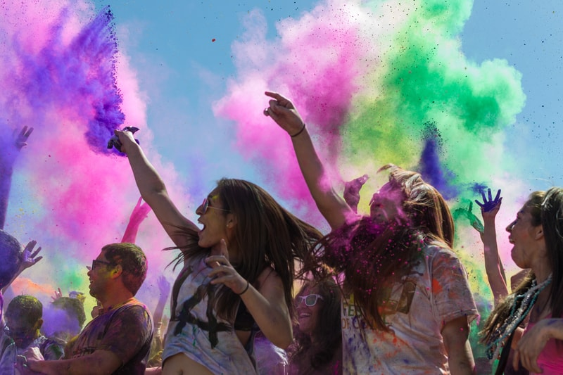Los Angeles, California, USA - March 8: Holi Festival of Colors.